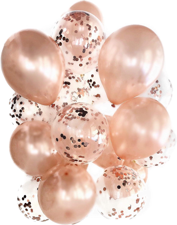 Cavore Konfetti Luftballon Set in Rosegold metallic – 8 Stück – Partydeko  Ballons für Geburtstag, JGA, Taufe, Hochzeit, Baby Shower & Silvester