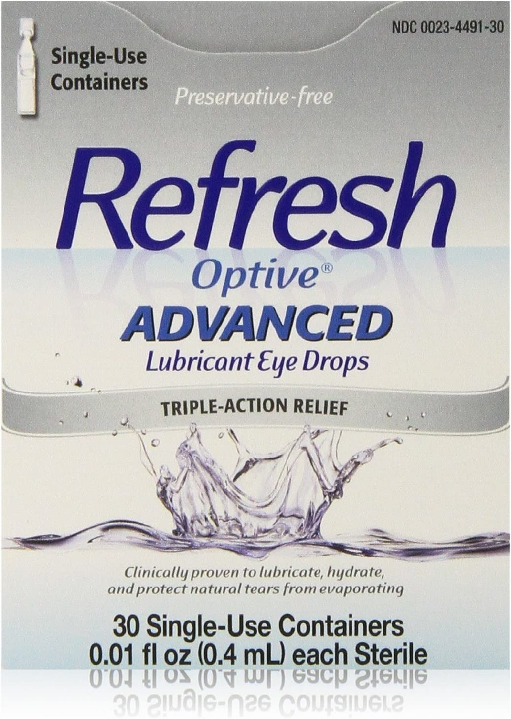 Refresh Optive Advanced Lubricant Max 79% OFF Eye Drops Count Box 30 Large special price 3 Per