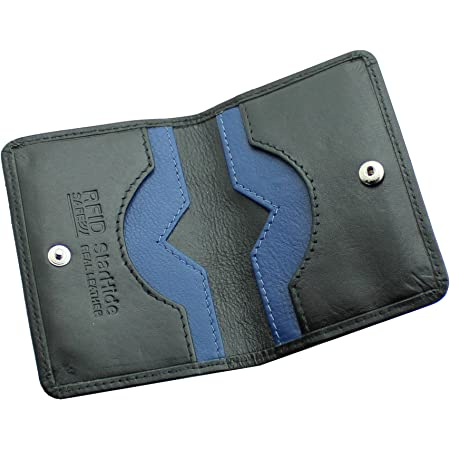 STARHIDE Mens Front Pocket RFID Blocking Minimalist Slim Leather Credit Cardholder Case 120 Black Blue