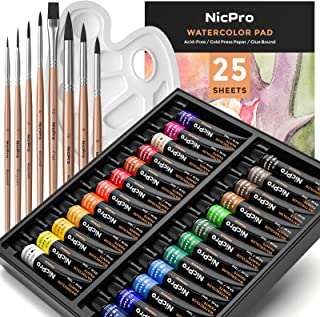Nicpro Watercolor Paint Kit, Professional Painting Supplies Set 24 Tube Water Color Paints, 8 Synthetic Squirrel Brushes, ...