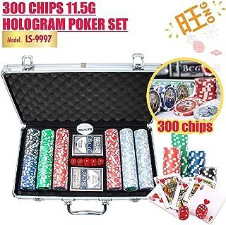 HOUZE LS-9997 300 Chips 11.5g Hologram Poker Set , Multi