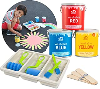 Discovery Kids Washable Outdoor Liquid Chalk Set, Create Oversized Sidewalk Art, 11-Piece Set Includes 3 Paints, Foam Brushes, Mixing Sticks, Tray, Great Gift, Easy Cleanup – RED/Blue/Yellow