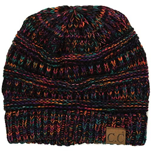 Quad Color Warm Chunky Thick Stretchy Knit Slouchy Beanie Skull Cap Hat 5d29debb1d4e