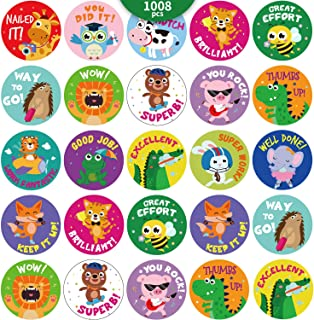 1008 Pieces Animal Reward Stickers for Kids Student Award Adorable Round Animal School Teacher Sticker Labels Encouragemen...