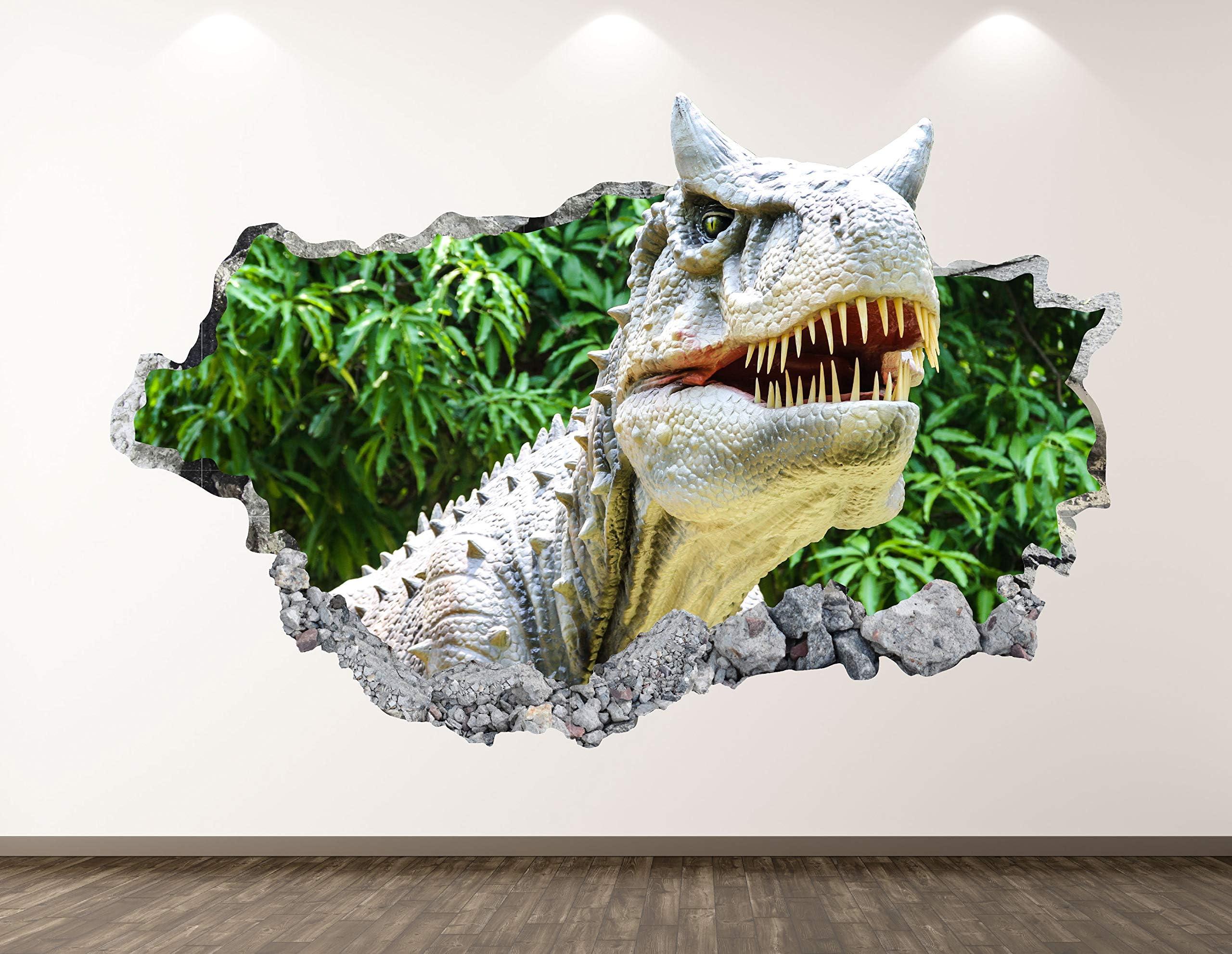 Wild Tyrannosaurus 3D Smashed Wall Decor Art Sticker Kids Vinyl Poster Mural Personalized Gift BL380 Dinosaur Wall Decal