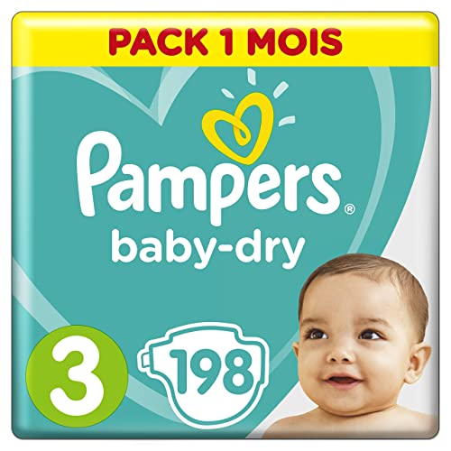 Pampers - Baby Dry - Couches Taille 3 (6-10 kg) - Pack 1 mois (x198 couches)