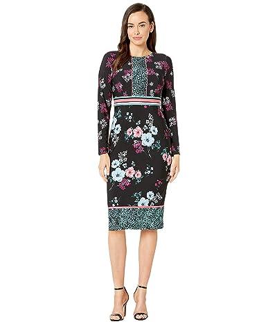 Maggy London Placed Pebble Blossom Jersey Sheath Dress (Black/Blue/Rose) Women