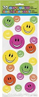 Unique Party Happy Face Cello Bags (Pack of 20) (UK Size: One Size) (Multicoloured)