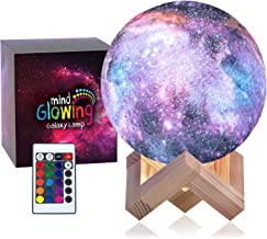 3D Galaxy Moon Lamp by Mind-glowing - Cool Kids Galaxy Moon Night Light (Standard, 4.7in) with 16 LED Colors, Touch & Remo...
