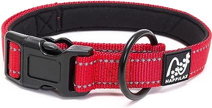 Happilax Collar Perro Grande Acolchado, antitirones, Ajustable y Reflectante, Rojo