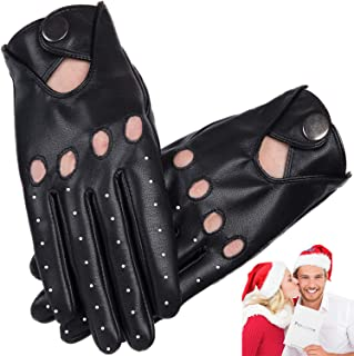 Driving Gloves Men,Touscreen Gloves Unlined with Vent Holes,Soft Comfortable Breathable Black Leather Gloves