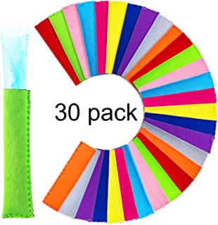 Ice Pop Insulator Sleeves Freezer Pop Holders Bags (30 Pieces, Style A)