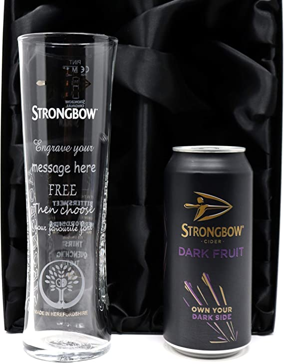 MESSAGE CIDER GLASS PERSONALISED STRONGBOW SIRRUS PINT GLASS WITH YOUR NAME