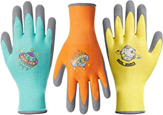 COOLJOB 3 Pairs Kids Gardening Gloves for Age 3-5, Grippy Rubber Coated Garden Work Gloves for Children, Orange & Green & Yellow, Small Size (3 Pairs S)
