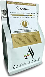 Aromistico   Italian Medium Roast Ground Gourmet Coffee Blend   VERONA Gold Blend: ROASTED ALMOND, HONEYCOMB and FUDGE-LIKE   For Cafetiere / Press, Filter, Pour Over, Drip, Moka etc