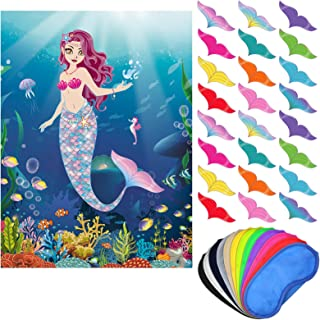 Pin The Tail On The Mermaid Party Game, Mermaid Game Poster Come Extra with Mermaid Tail and Eye Masks for Mermaid Party F...
