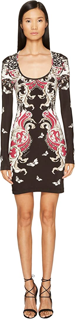Long Sleeve Uffizi Print Jersey Dress