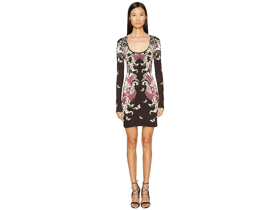 Just Cavalli Long Sleeve Uffizi Print Jersey Dress (Bordeaux) Women
