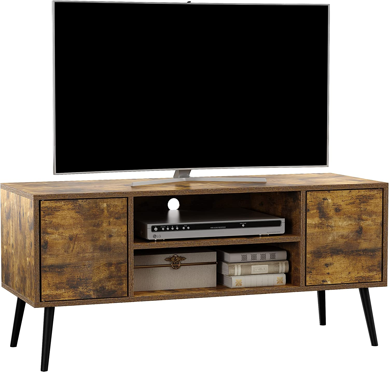 Yusong Wooden Retro Tv Stand and Entertainment Centre,TV Console for TV up to 55 Inches,TV Cabinets with Doors and Shelves for Living Room,Rustic Brown