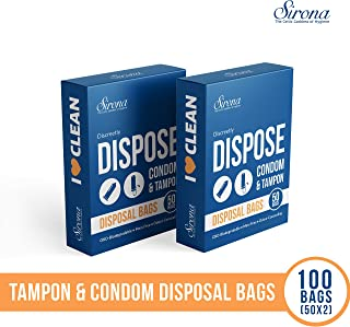 Sirona Condom and Tampon Disposal Bags - 100 Bags (Pack of 2x50 Bags) | for Discreet Disposal of Tampons and Condoms | Bathroom Trash Bag