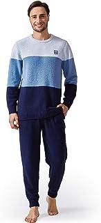 DAVID ARCHY Men's Plush Fleece Sleepwear Warm Cozy Long Sleeve Top & Bottom Pajama Set Big and Tall Nightwear