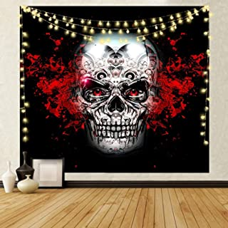 NRANSON Skull Tapestry Wall Hanging Skeleton Wall Decor for Living Room Bedroom Dorm with LED Strip Lights (59.05