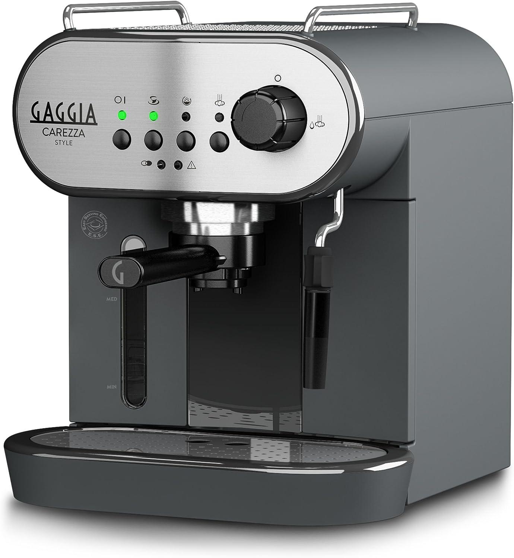 Gaggia RI8523/01 - Cafetera (Independiente, Máquina espresso, 1,4 L, Dosis de café, De café molido, 1900 W, Negro, Acero inoxidable)