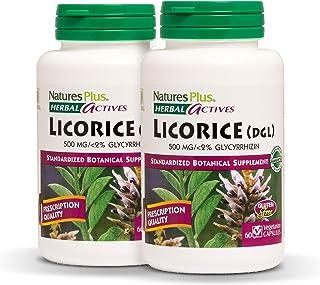 NaturesPlus Herbal Actives Licorice (DGL) Capsules (2 Pack) - 500 mg, 60 Vegan Capsules - Maximum Potency, Anti-Inflammato...