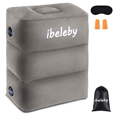 iBeleby Airplane Foot Rest, Inflatable Travel Pillow for Kids to Sleep, Adjustable Height Leg Rest Pillow in Office & Home, Toddlers Travel Bed Box, Portable Travel Accessories for Long Flight, Car