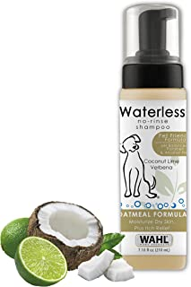 Wahl Pet Friendly Waterless No Rinse Shampoo for Animals – Oatmeal & Coconut Lime Verbena for Cleaning, Conditioning, Detangling, & Moisturizing Dogs, Cats, & Horses – 7.1 Oz