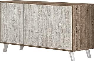 HomeSouth - Mueble Aparador 3 Puertas Buffet para Cocina y Comedor Modelo Soto Acabado en Color Trufa y Blanco Cañon M...