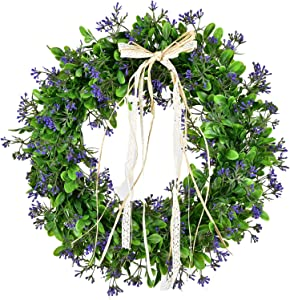 """LSKYTOP 16"""" Artificial Boxwood Wreath Faux Green Leaves Wreath for Front Door Hanging Wall Window Wedding Party Decoration"""