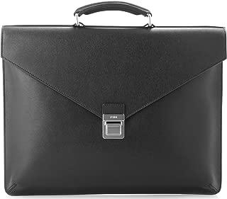 Fendi Men'S Leather Briefcase W/Top Handle, Black