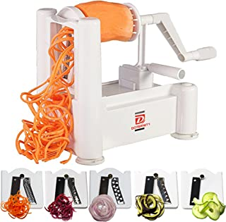 5-Blades vegetable spiralizer by DOTERNITY - Zucchini Spaghetti Maker - for Low Carb/Paleo/Vegan/Raw/Gluten-Free Meals- Professional Spiral Vegetable Slicer Kitchen Cutter Tool Extra Peeler Included