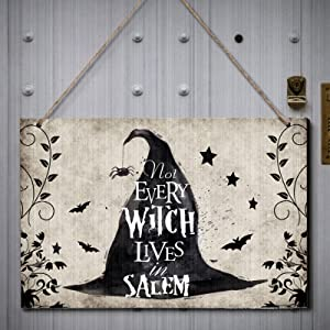 Halloween Witch Wooden Sign Not Every Witch Lives in Salem Sign Vintage Wooden Witch Sign Witch Wooden Hanging Decor Rustic Witch Hanging Sign for Haunted House Halloween Party Decorations