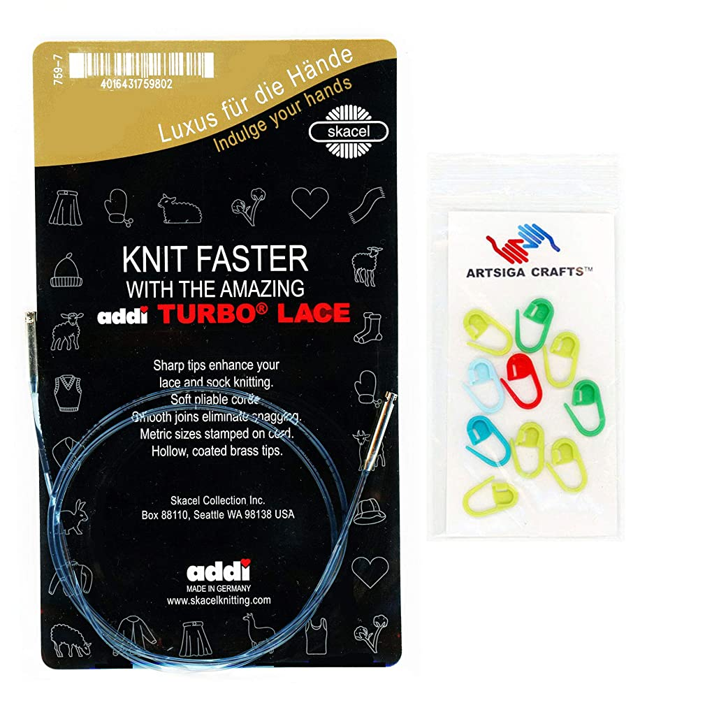 addi Knitting Needle Click Interchangeable Skacel Exclusive Blue Cord for Short Rocket Lace Set 32 inch (80m) Bundle with 10 Artsiga Crafts Stitch Markers