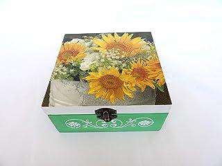 Caja para Bolsitas de Té y Infusiones - 4 compartimentos, Caja Organizadora de Cocina con Girasoles