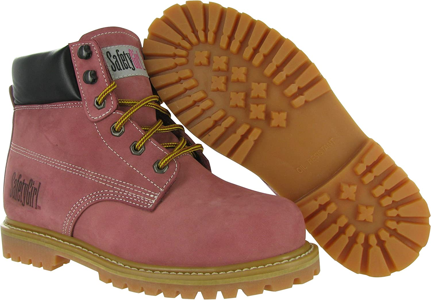 SafetyGirl GS002 Nubuck Leather Steel Toe Water Resistant Womens Work Boot, 6  Height, 8M, Light Pink