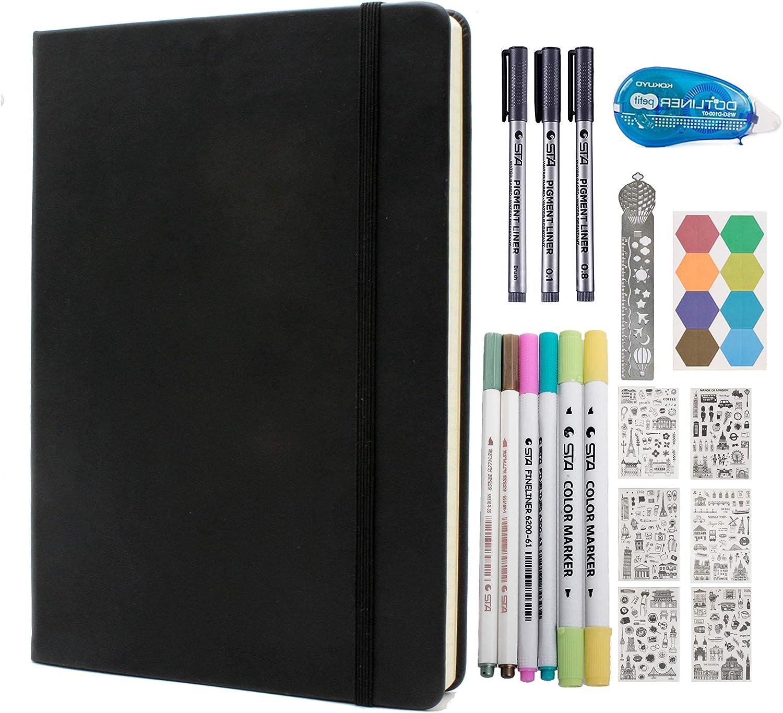 Ranking TOP11 Black Ruled Superlatite Journal Kit Hardcover Finel A5 Paper 120gsm Notebook