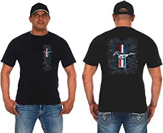 JH DESIGN GROUP Mens Ford Mustang Tri-Bar Pony Distressed Collage T-Shirt