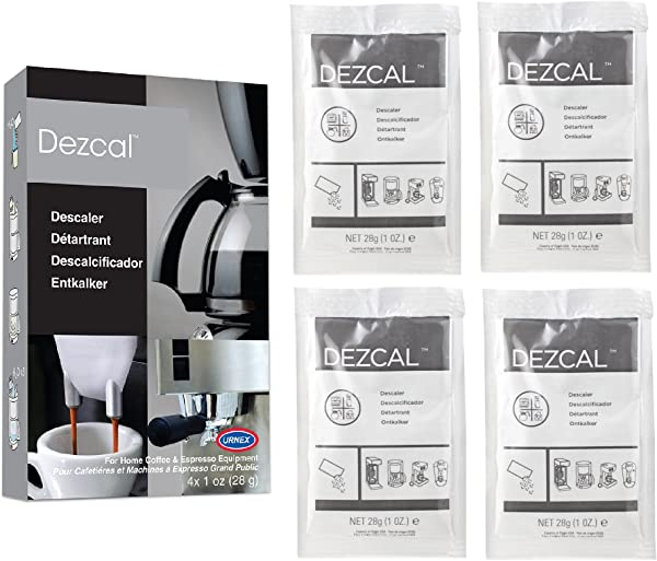 Urnex Dezcal Coffee And Espresso Descaler And Cleaner 4 Uses Activated Scale Remover Use With Home Coffee Brewers Espresso Machine Pod Machine Capsule Machine Kettles Garmet Steamers