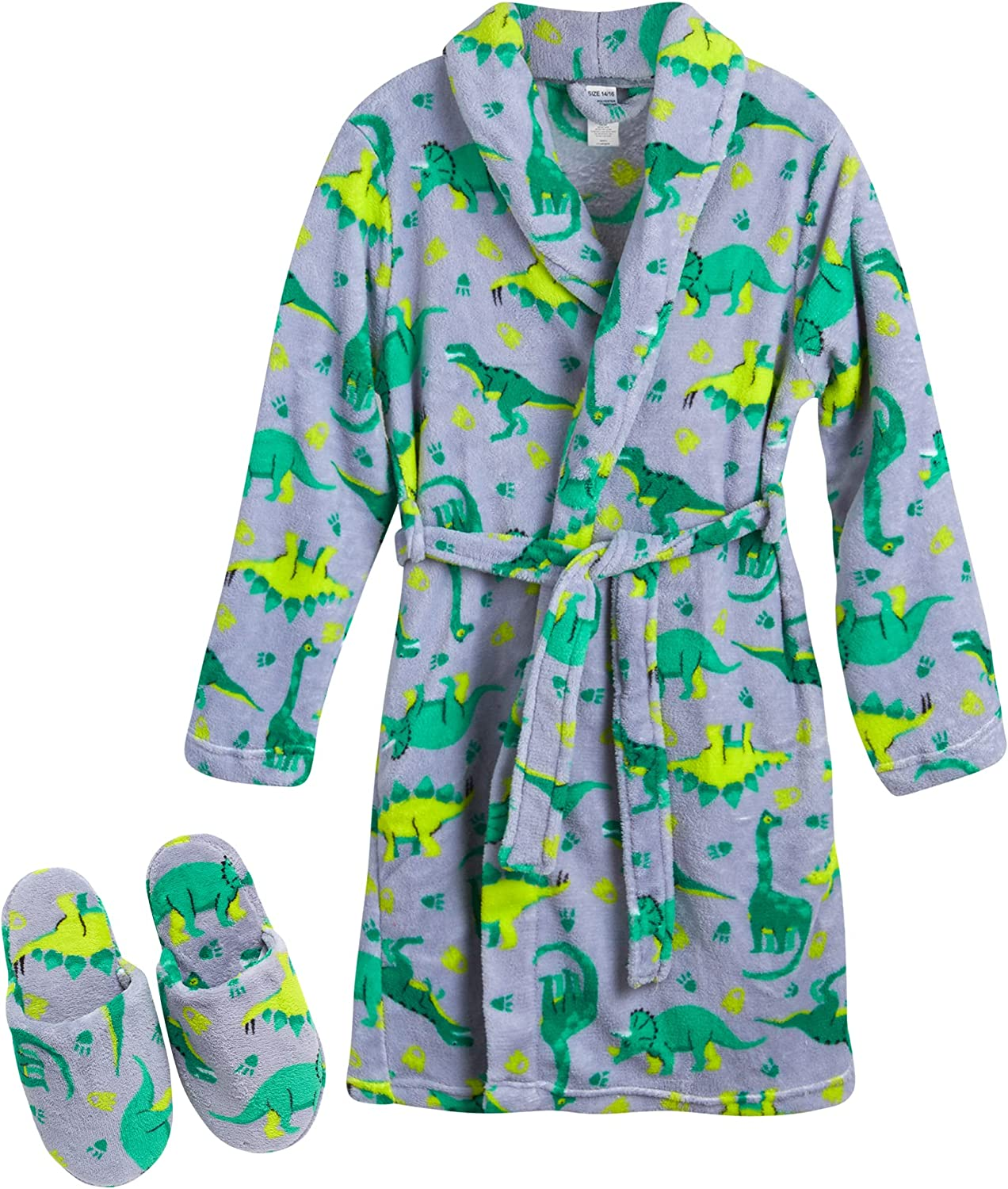 Too Cool 2 Sleep Big Boys' Green Camo Robe with Slippers , Size 5/6, Mon Green Dinos