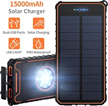 Solar Charger 15000mAh Portable Power Bank with Dual USB Ports Waterproof External Battery Charger with 15 LED Lights for Cell Phone Tablet Camera GPS Camping Outdoors and Emergency