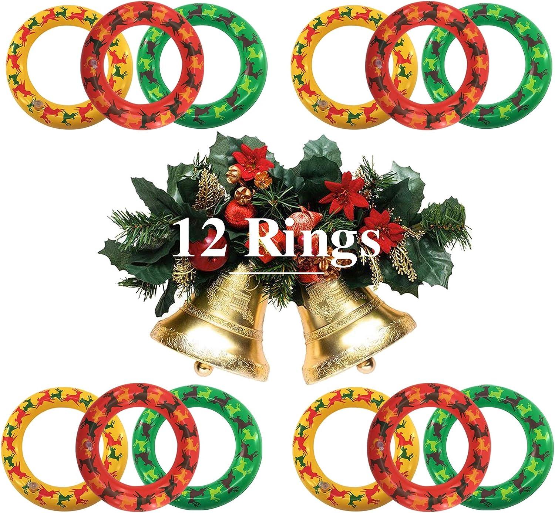 MeiGuiSha 2 Pack Inflatable Reindeer Antler,Inflatable Reindeer Antlers with Sequins Ring Toss Games for Christmas Party Games Indoor School Carnival Games 2 Antlers 8 Rings