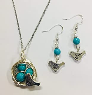Robins Nest or Bird's Nest Pendant & Earring Set - with 3 Turquoise Eggs on a 24 inch stainless steel link chain