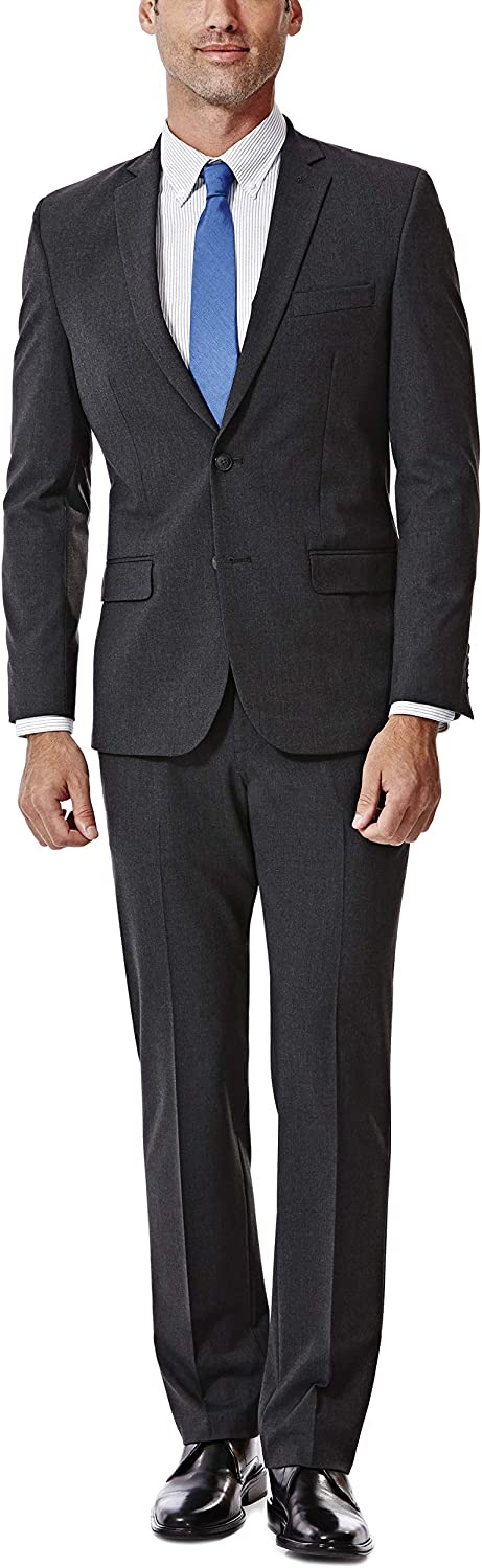 J.M. Haggar 4-Way Stretch Solid 2-Button Slim Fit Suit Separate Coat, Charcoal Heather, 44R with Separate Pant, Charcoal Heather, 34Wx30L