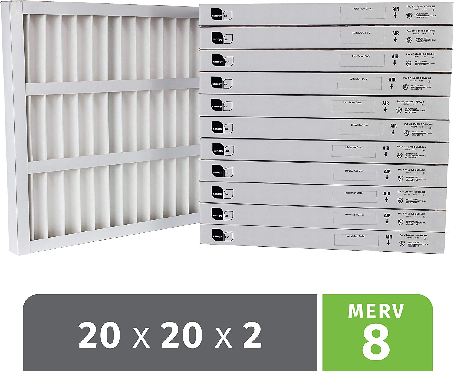 Canopy Air Professional Grade  Self Supported Standard Capacity Pleated Air Filter, Synthetic Media, White, 8 MERV, 100% Metal Free, 20 Height x 20 Width x 2 Depth (Case of 12)