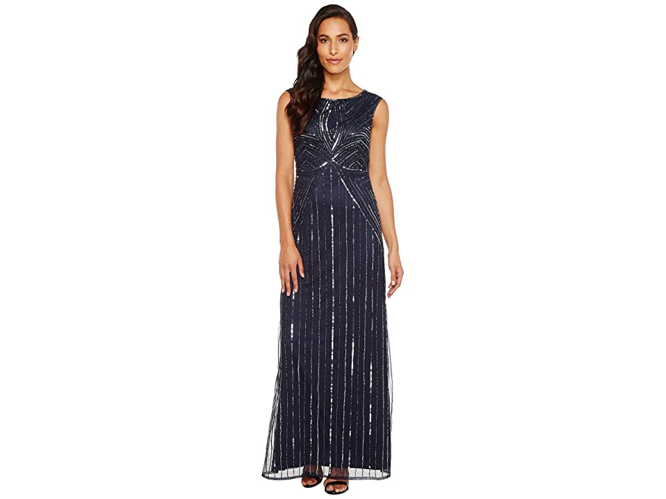 Adrianna Papell Extended Cap Sleeve Swirl Bead Gown (Navy) Women