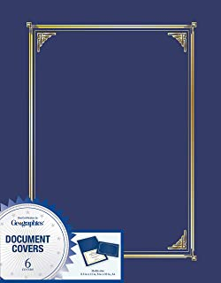 Geographics Navy Blue Document Covers, Foil, 6 Pack 8.5 in x 11 in , 8 in x 10 in