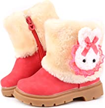 Femizee Baby Girls Infant Toddler Winter Fur Shoes Rabbit Snow Boots Booties(Toddler/Little Kid)